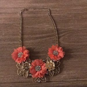 Jewelry - Coral and gold fashion necklace